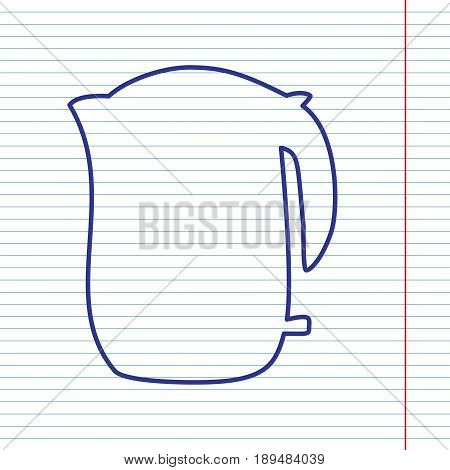 Electric kettle sign. Vector. Navy line icon on notebook paper as background with red line for field.