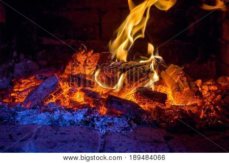firewood from pine burning in a furnace