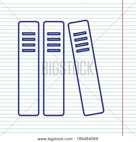 Row of binders, office folders icon. Vector. Navy line icon on notebook paper as background with red line for field.