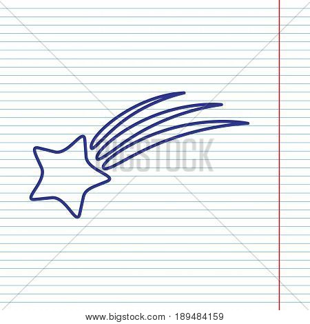 Meteor shower sign. Vector. Navy line icon on notebook paper as background with red line for field.