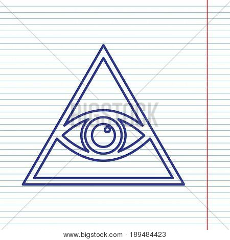 All seeing eye pyramid symbol. Freemason and spiritual. Vector. Navy line icon on notebook paper as background with red line for field.