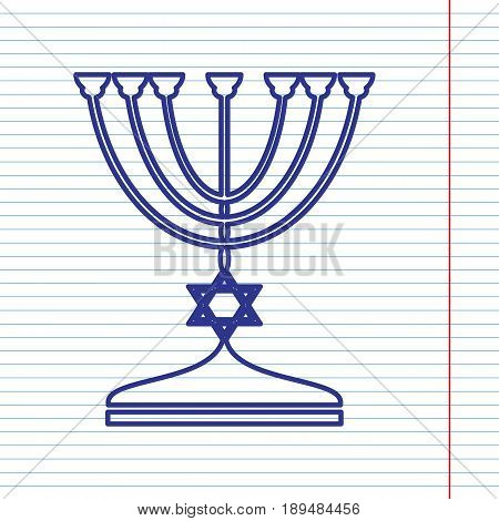 Jewish Menorah candlestick in black silhouette. Vector. Navy line icon on notebook paper as background with red line for field.