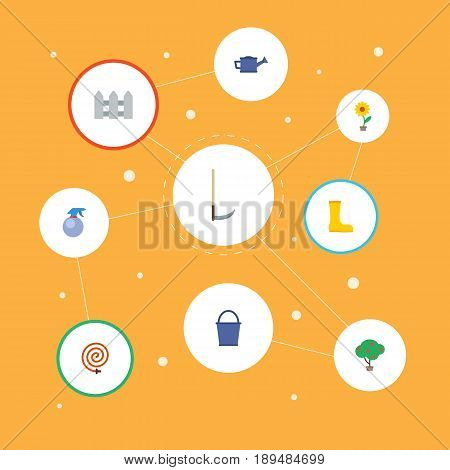Flat Rubber Boots, Spray Bottle, Garden Hose And Other Vector Elements. Set Of Gardening Flat Symbols Also Includes Atomizer, Garden, Fruit Objects.