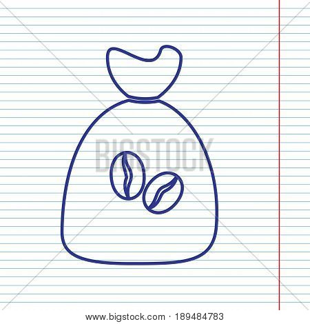 Coffee bag Icon. Coffee bag. Vector. Coffee bag Icon Button. Vector. Navy line icon on notebook paper as background with red line for field.