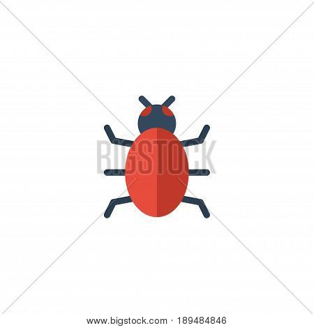 Flat Bug Element. Vector Illustration Of Flat Virus  Isolated On Clean Background. Can Be Used As Trojan, Virus And Bug Symbols.