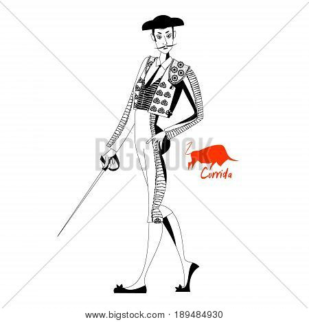 Matador with sword. Corrida de toros. Bullfighting. Black and white. Vector illustration