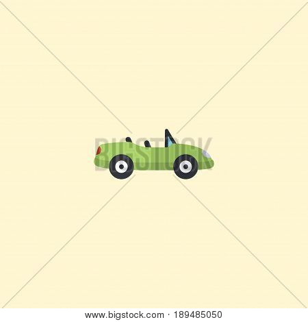 Flat Cabriolet Element. Vector Illustration Of Flat Car Isolated On Clean Background. Can Be Used As Car, Cabriolet And Coupe Symbols.