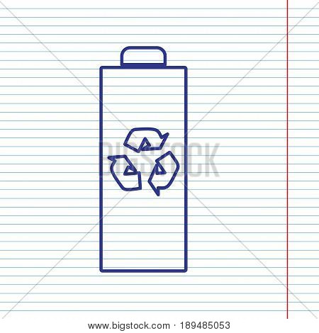 Battery recycle sign illustration. Vector. Navy line icon on notebook paper as background with red line for field.