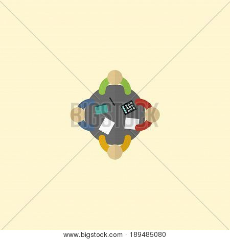Flat Meeting Element. Vector Illustration Of Flat Discussion  Isolated On Clean Background. Can Be Used As Brainstorm, Discussion And Meeting Symbols.