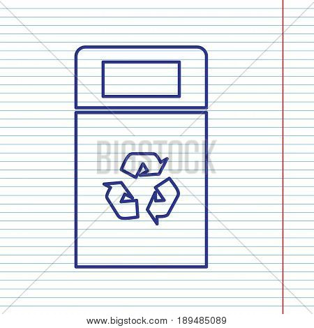 Trashcan sign illustration. Vector. Navy line icon on notebook paper as background with red line for field.