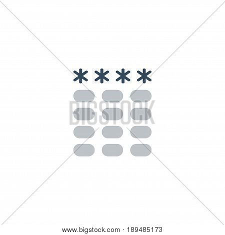 Flat Password Element. Vector Illustration Of Flat Keypad  Isolated On Clean Background. Can Be Used As Password, Keypad And Security Symbols.