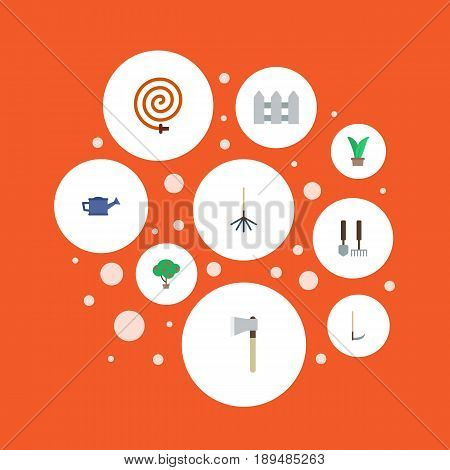 Flat Axe, Watering Can, Garden Hose And Other Vector Elements. Set Of Gardening Flat Symbols Also Includes Watering, Hedge, Harrow Objects.
