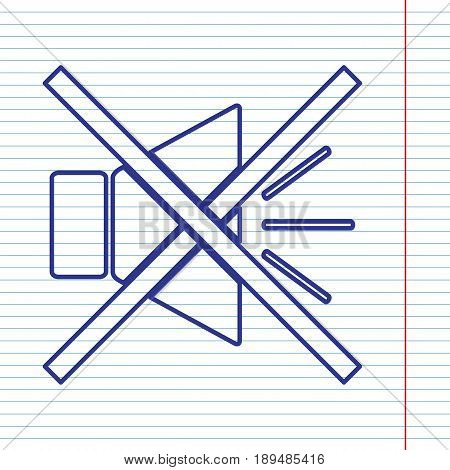 Sound sign illustration with mute mark. Vector. Navy line icon on notebook paper as background with red line for field.