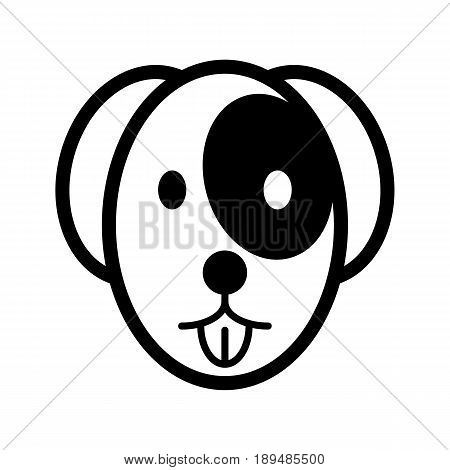 The dog shows the tongue simple vector icon. Black and white illustration of dog face. Outline linear pet icon. eps 10