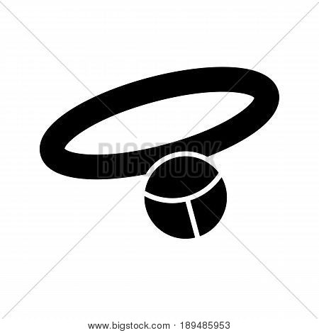 Pet necklace simple vector icon. Black and white illustration of collar for dogs and cats. Solid linear icon. eps 10