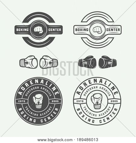 Boxing and martial arts logo badges and labels in vintage style. Vector illustration. Graphic Art.