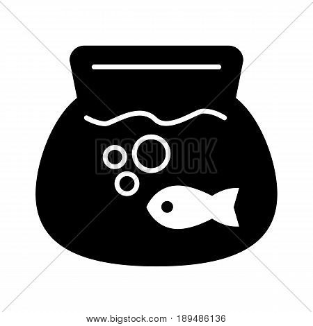Fish aquarium simple vector icon. Black and white illustration of transparent fishbowl. Solid linear icon. eps 10