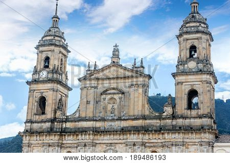 Cathedral at Bolivar square in Bogota Colombia