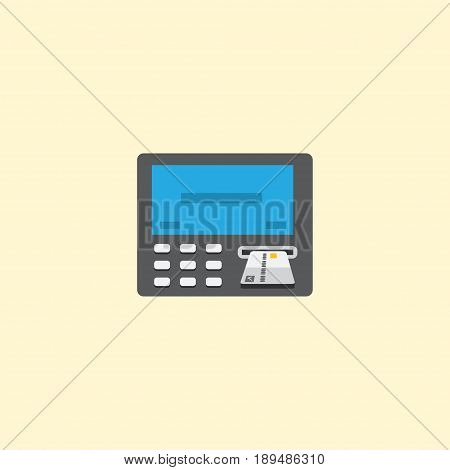 Flat Teller Machine Element. Vector Illustration Of Flat Atm Isolated On Clean Background. Can Be Used As Atm, Bank And Machine Symbols.