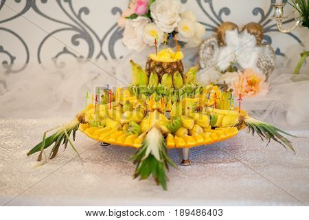 Composition from fruit - an ornament of a celebratory banquet.
