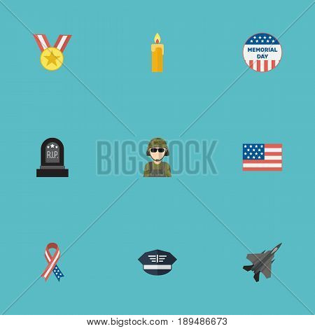 Flat Medallion, Tomb, Aircraft And Other Vector Elements. Set Of Memorial Flat Symbols Also Includes Wax, Banner, Memorial Objects.