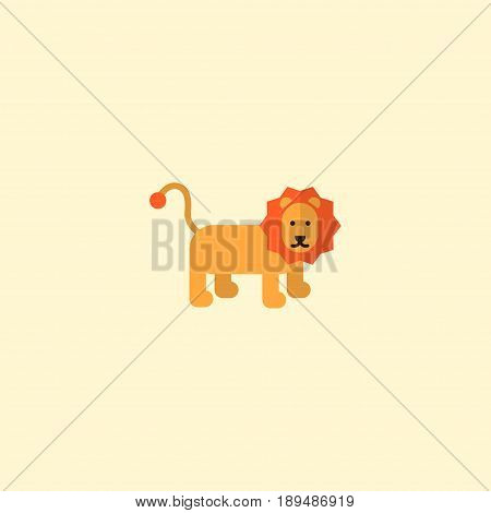 Flat Lion Element. Vector Illustration Of Flat Wildcat Isolated On Clean Background. Can Be Used As Lion, Wildcat And Forest Symbols.