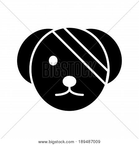 Sick cute dog simple vector icon. Black and white illustration of dog with Bandaged eye. Solid linear veterinary icon. eps 10