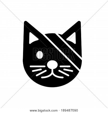 Sick cute cat simple vector icon. Black and white illustration of cat with Bandaged eye. Solid linear veterinary icon. eps 10