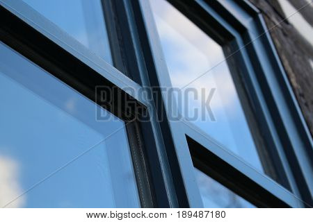 An Image of a blue window - architecture