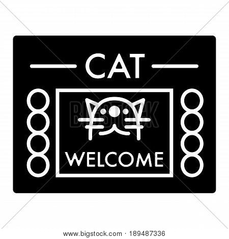 Cat shelter simple vector icon. Black and white illustration of house for Homeless cats. Solid linear icon. eps 10