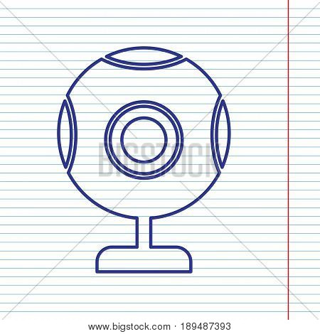 Chat web camera sign. Vector. Navy line icon on notebook paper as background with red line for field.