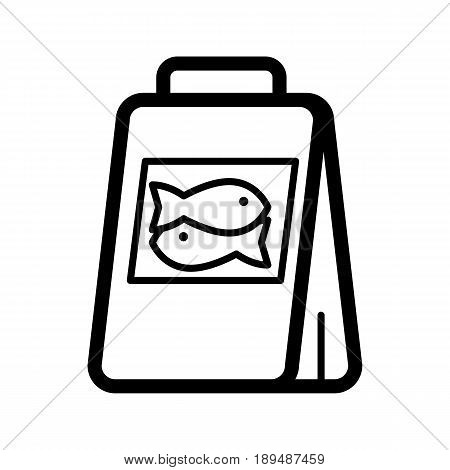 Fish food package simple vector icon. Black and white illustration of meal for fishes. Outline linear icon. eps 10