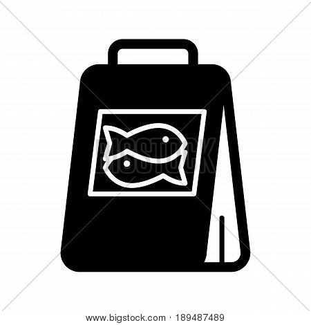 Fish food package simple vector icon. Black and white illustration of meal for fishes. Solid linear icon. eps 10