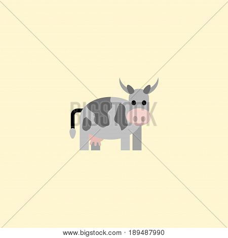 Flat Cow Element. Vector Illustration Of Flat Kine Isolated On Clean Background. Can Be Used As Kine, Cow And Animal Symbols.