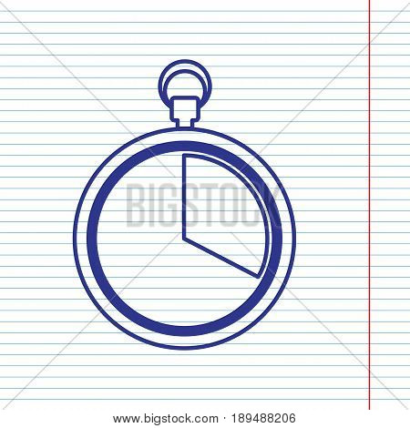 The 20 seconds, minutes stopwatch sign. Vector. Navy line icon on notebook paper as background with red line for field.