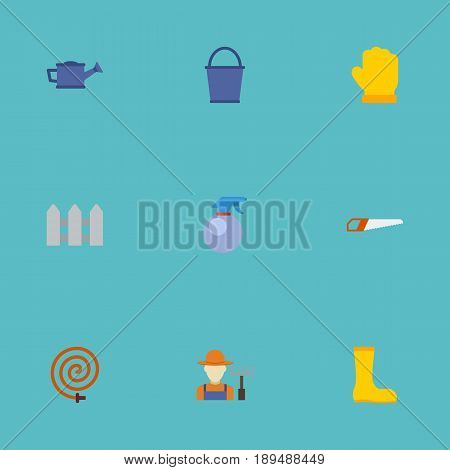 Flat Latex, Bucket, Fence And Other Vector Elements. Set Of Horticulture Flat Symbols Also Includes Fence, Gumboots, Hedge Objects.