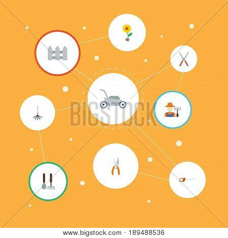 Flat Flowerpot, Tools, Hacksaw And Other Vector Elements. Set Of Horticulture Flat Symbols Also Includes Hedge, Instruments, Fencing Objects.