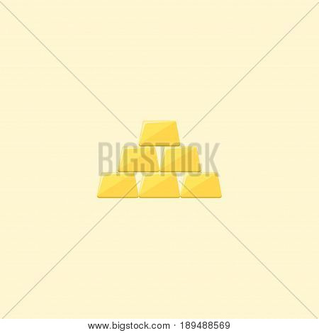 Flat Gold Bars Element. Vector Illustration Of Flat Ingot Isolated On Clean Background. Can Be Used As Gold, Bars And Ingot Symbols.