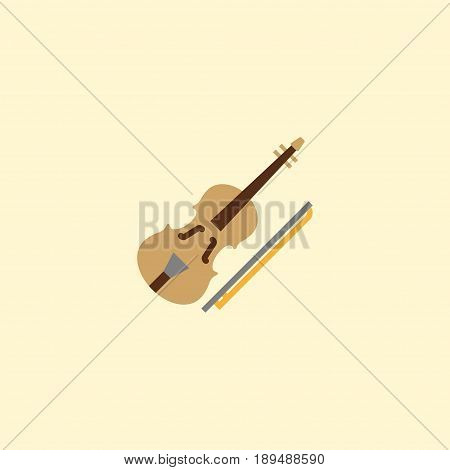 Flat Violin Element. Vector Illustration Of Flat Fiddle Isolated On Clean Background. Can Be Used As Violin, Fiddle And Orchestra Symbols.
