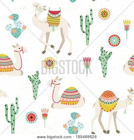 Seamless background with camels with ethnic saddles cactuses and flowers. Vector illustration.