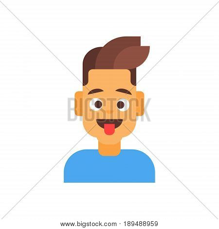 Profile Icon Male Emotion Avatar, Man Cartoon Portrait Happy Smiling Face Foolish Vector Illustration