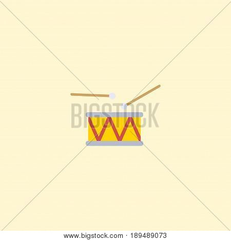 Flat Drum Element. Vector Illustration Of Flat Tambourine  Isolated On Clean Background. Can Be Used As Drum, Tambourine And Instrument Symbols.