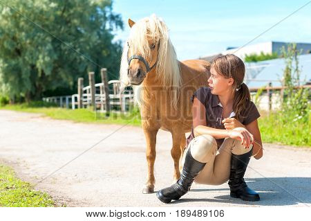 Teenage girl owner talking with her friend small shaggy playful shetland pony horse. Multicolored summertime horizontal outdoors image.