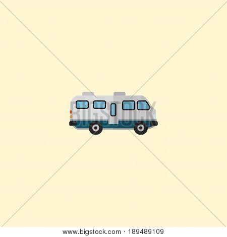 Flat Camper Van Element. Vector Illustration Of Flat Caravan Isolated On Clean Background. Can Be Used As Caravan, Camper And Van Symbols.