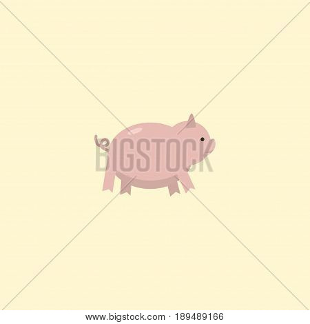 Flat Pig Element. Vector Illustration Of Flat Swine Isolated On Clean Background. Can Be Used As Pig, Swine And Hog Symbols.