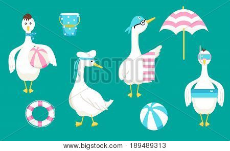 Vector set with geese and beach accessories. Summer beach vacation collection.