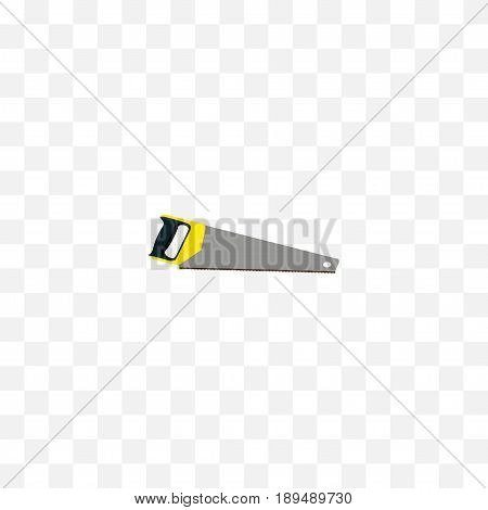 Realistic Saw Element. Vector Illustration Of Realistic Hacksaw Isolated On Clean Background. Can Be Used As Sawmill, Saw And Hacksaw Symbols.