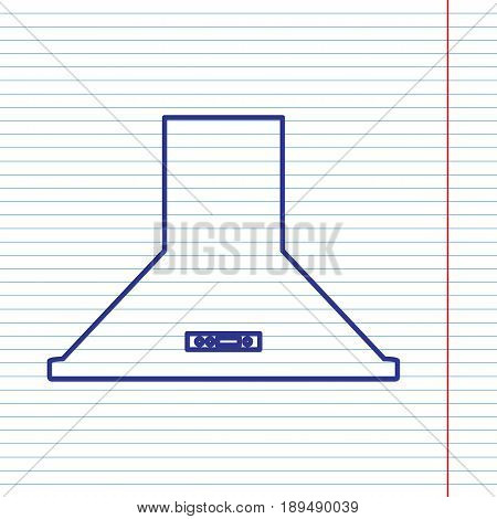 Exhaust hood. Kitchen ventilation sign. Vector. Navy line icon on notebook paper as background with red line for field.