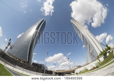 MILAN, ITALY - APRIL 17, 2017: Milan (Lombardy Italy): the skyscrapers known as Generali and Allianz Tower in the new Citylife area (Tre Torri). FIsheye lens.