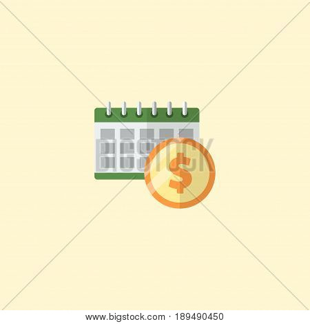 Flat Dividends Element. Vector Illustration Of Flat Deadline Isolated On Clean Background. Can Be Used As Deadline, Dividends And Money Symbols.
